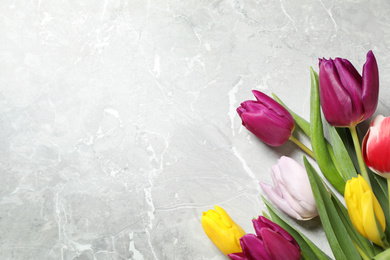 Beautiful spring tulips on grey marble table, flat lay. Space for text