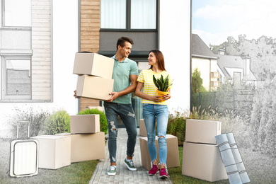 Happy couple with moving boxes and household stuff near their new house