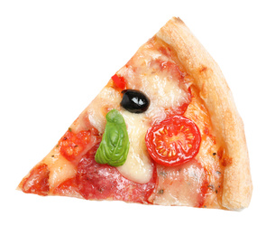 Slice of delicious pizza Diablo isolated on white, top view