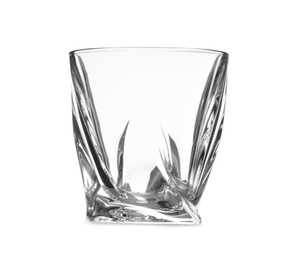 Empty clear lowball glass isolated on white