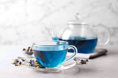 Glass cup of organic blue Anchan on light table, space for text. Herbal tea