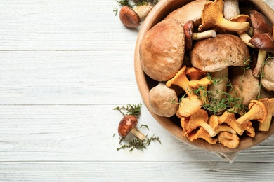 Different fresh wild mushrooms on white wooden table, flat lay. Space for text
