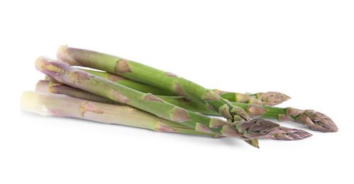 Fresh raw asparagus isolated on white. Healthy eating