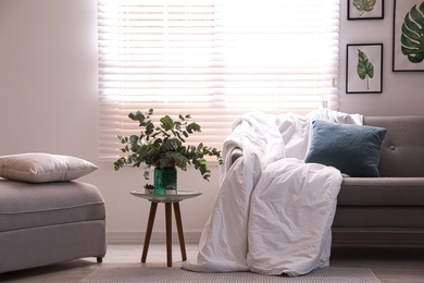 Comfortable sofa with blanket in stylish room interior