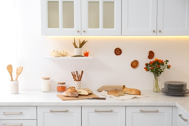 Modern kitchen interior with products on counter