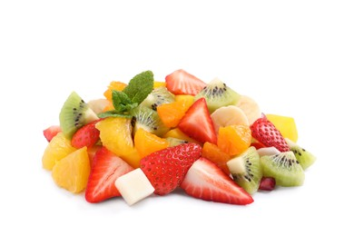 Pile of delicious fruit salad on white background