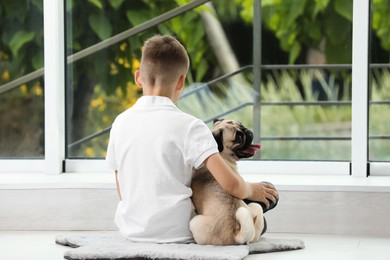 Boy with his cute pug near window indoors, back view