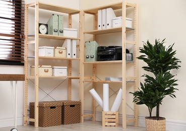 Modern home workplace with wooden storage. Idea for interior design