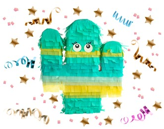 Bright funny pinata and party decor on white background