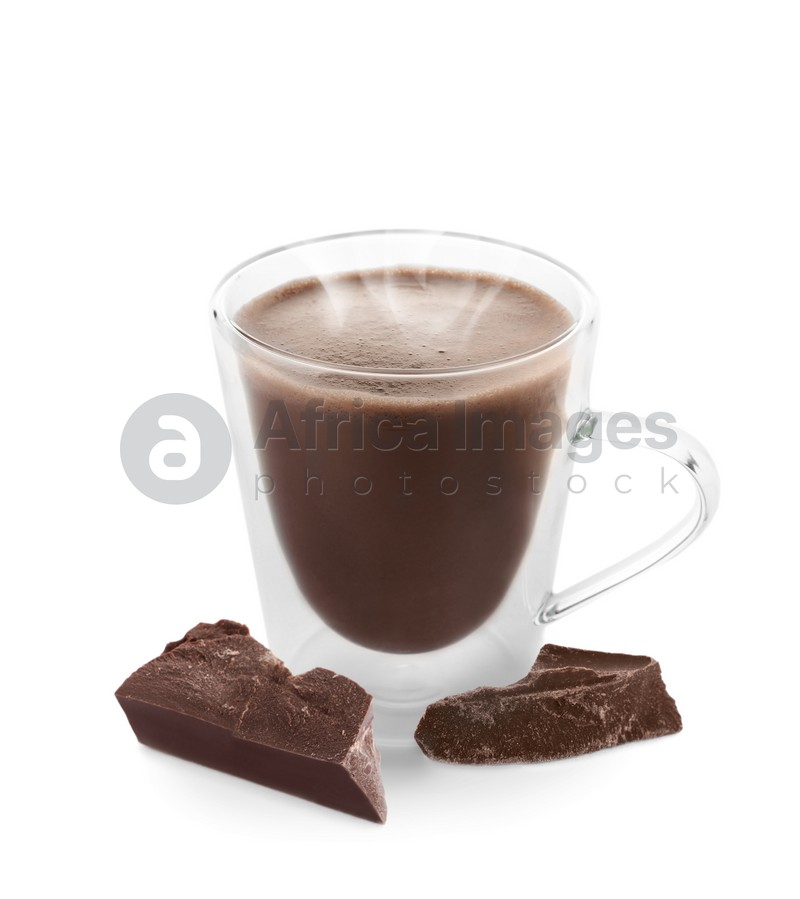 Cup of delicious hot chocolate on white background