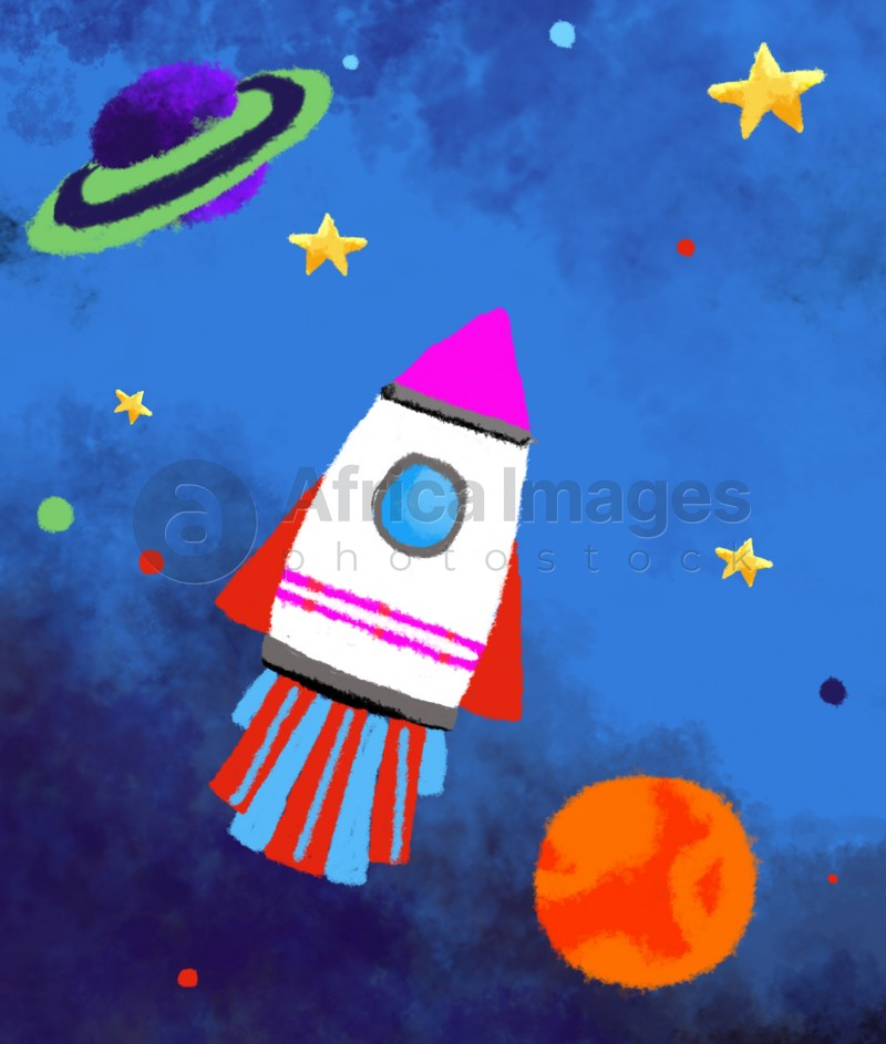 Drawing of rocket in space. Child art