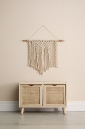 Wooden chest of drawers and decor indoors