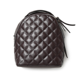 Elegant brown women's backpack isolated on white, top view