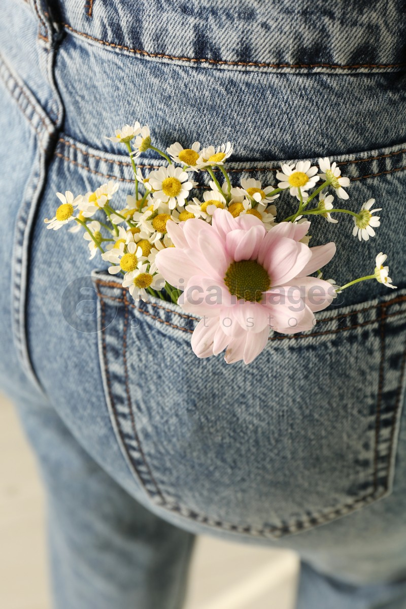Woman with beautiful tender flowers in jeans pocket, closeup
