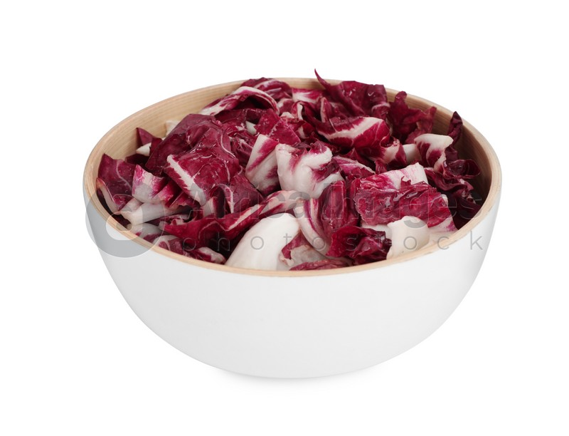 Leaves of ripe radicchio in bowl on white background
