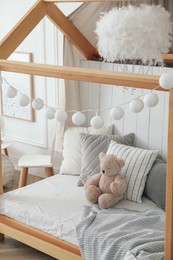 Stylish room for kid with house bed. Interior design