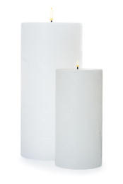 Wax candles isolated on white. Interior elements