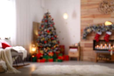 Blurred view of stylish Christmas living room interior