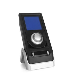 Modern remote for audio speakers isolated on white