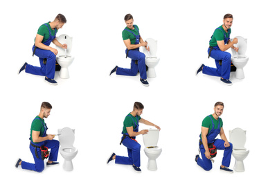 Collage with photos of plumber on white background