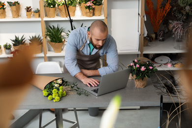 Professional male florist using laptop at workplace