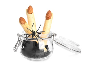 Delicious desserts decorated as monster fingers on white background. Halloween treat