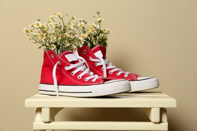 Beautiful tender chamomile flowers in red gumshoes on wooden table