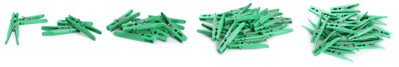 Set with green plastic clothespins on white background. Banner design