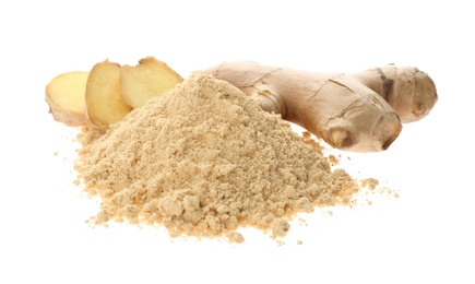 Dry ginger powder and fresh root isolated on white