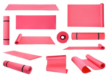 Set with pink camping mats on white background