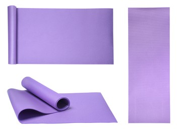 Set with violet camping mats on white background