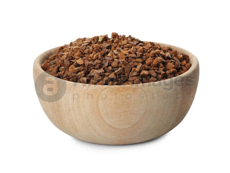Bowl of chicory granules on white background