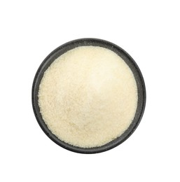 Gelatin powder in black bowl isolated on white, top view