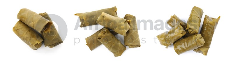 Delicious stuffed grape leaves on white background, collage. Banner design