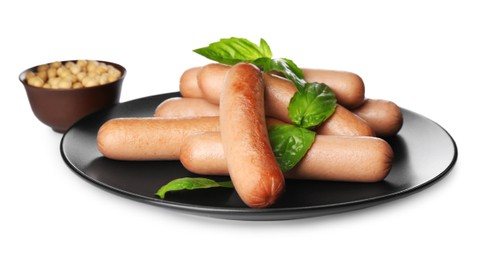 Delicious vegetarian sausages with basil and soybeans on white background