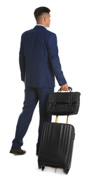 Businessman with suitcase and bag for vacation trip on white background. Summer travelling