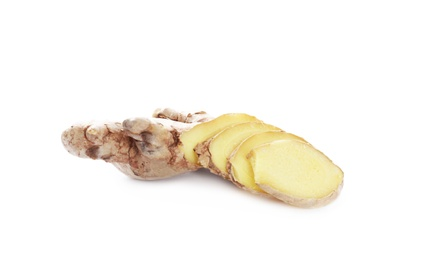 Cut fresh ginger root isolated on white