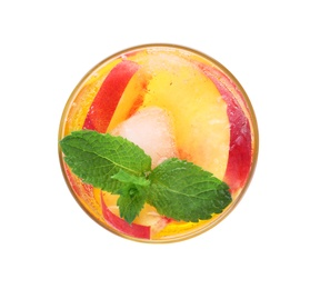 Delicious peach lemonade made with soda water isolated on white, top view