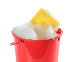Plastic bucket with foam and sponge isolated on white. Cleaning supplies