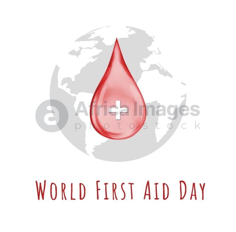 World First Aid Day. Drop of blood with cross symbol and Earth on white background, illustration