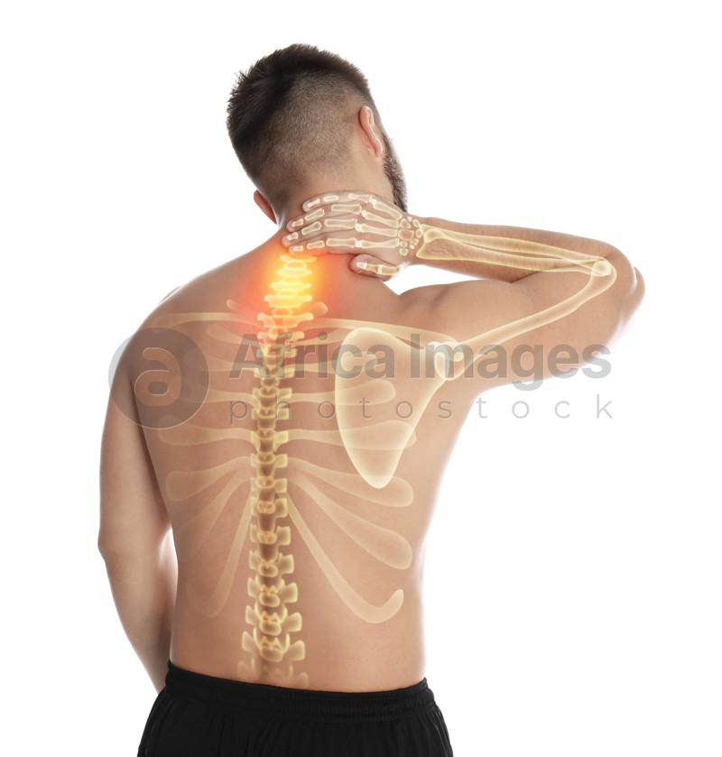 Man having neck pain on white background. Digital compositing with illustration of spine