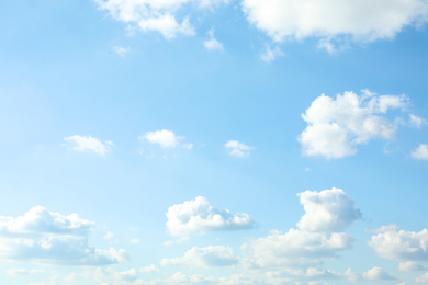 Picturesque view of blue sky with white clouds on sunny day