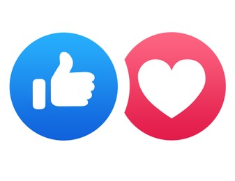 MYKOLAIV, UKRAINE - SEPTEMBER 19, 2021: Thumb up and heart signs isolated on white. Facebook like buttons