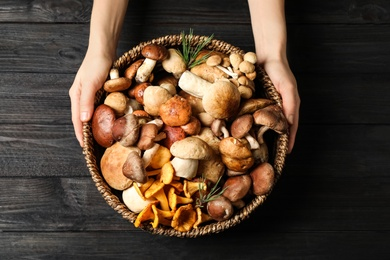 Woman holding wicker bowl with different wild mushrooms at black wooden table, top view