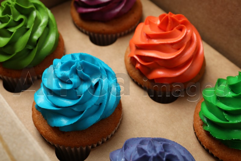 Different cupcakes with cream in box, closeup