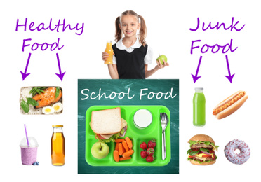 Schoolgirl and different products as variants for lunch. Healthy and junk food