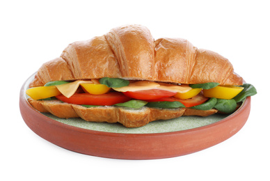 Plate with tasty vegetarian croissant sandwich isolated on white