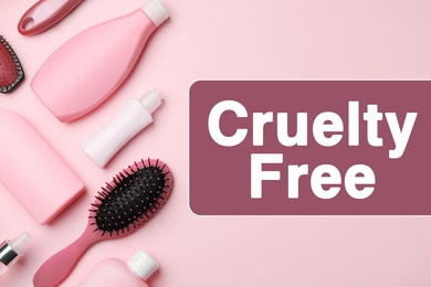 Cruelty free concept. Personal care products not tested on animals, flat lay