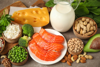 Different products rich in protein on table, closeup