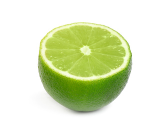 Half of fresh green lime isolated on white